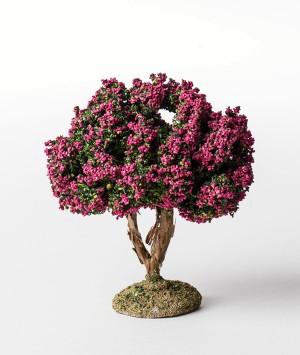 Arbre floqué fleuri rose