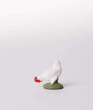 Santon la poule blanche picore