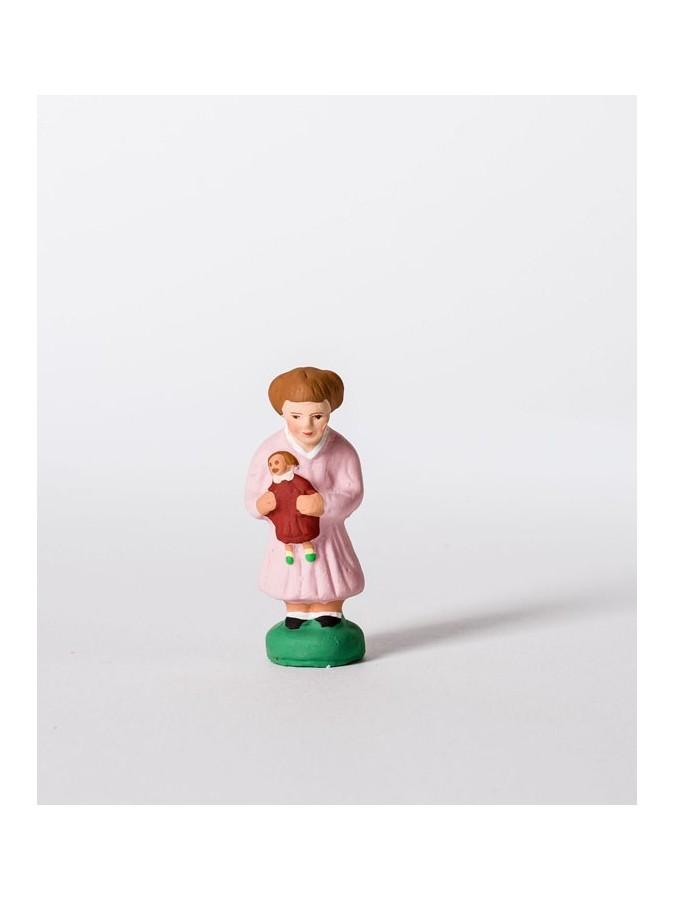 Santon fillette à la poupée