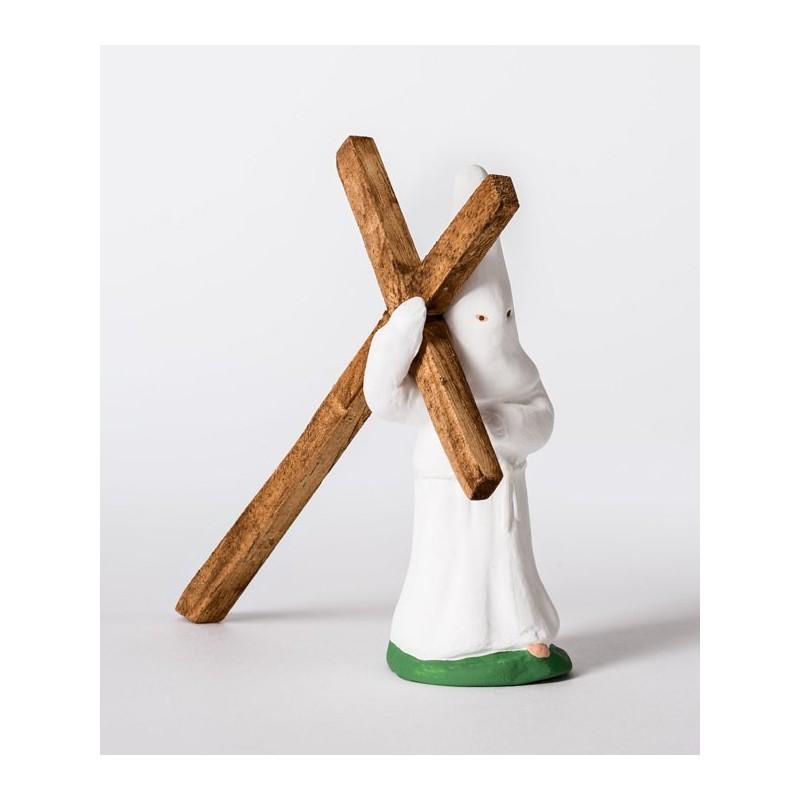 Santon le pénitent blanc à la croix