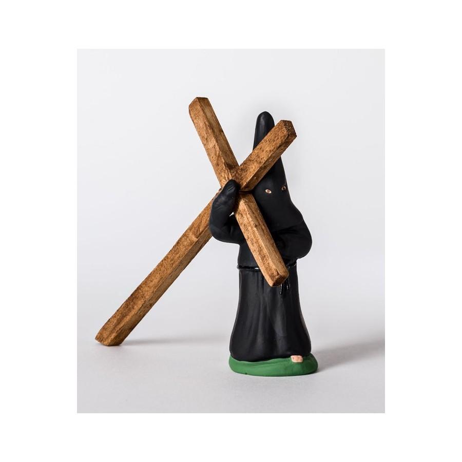 Santon le pénitent noir à la croix