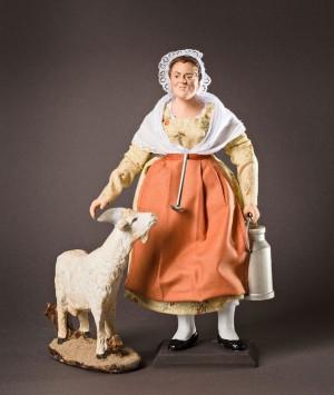 Santon habillé la femme à la chèvre
