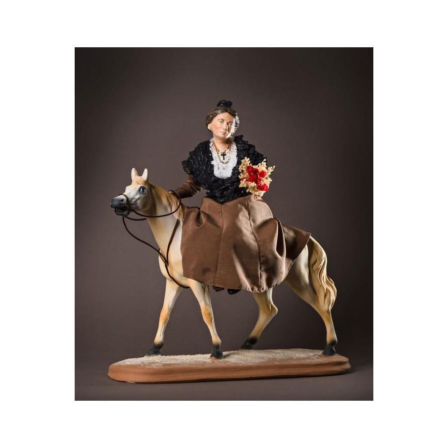 santon l'Arlésienne à cheval